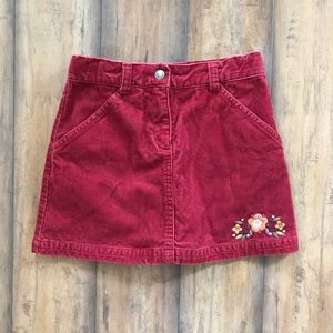 Gymboree Corduroy Skirt With Embroidered Flowers